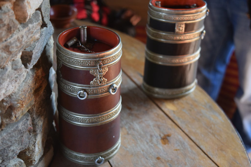 Wooden piece to store the Bhutanese wine at Simply Bhutan