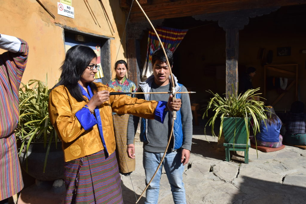 Trying Archery at Simply Bhutan