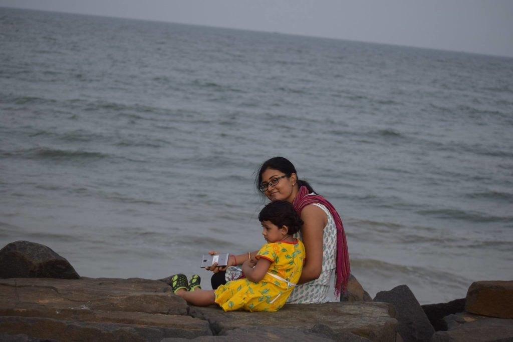 Me and my daughter, Year 2018 Rock Beach, Pondicherry